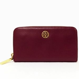 Tory Burch Robinson Plum Saffiano Leather Wallet